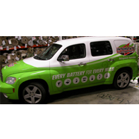 Vehicle Wrap for Interstate Battery.