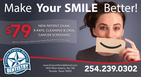make your smile better coupon ad for Fossum Family Dentistry